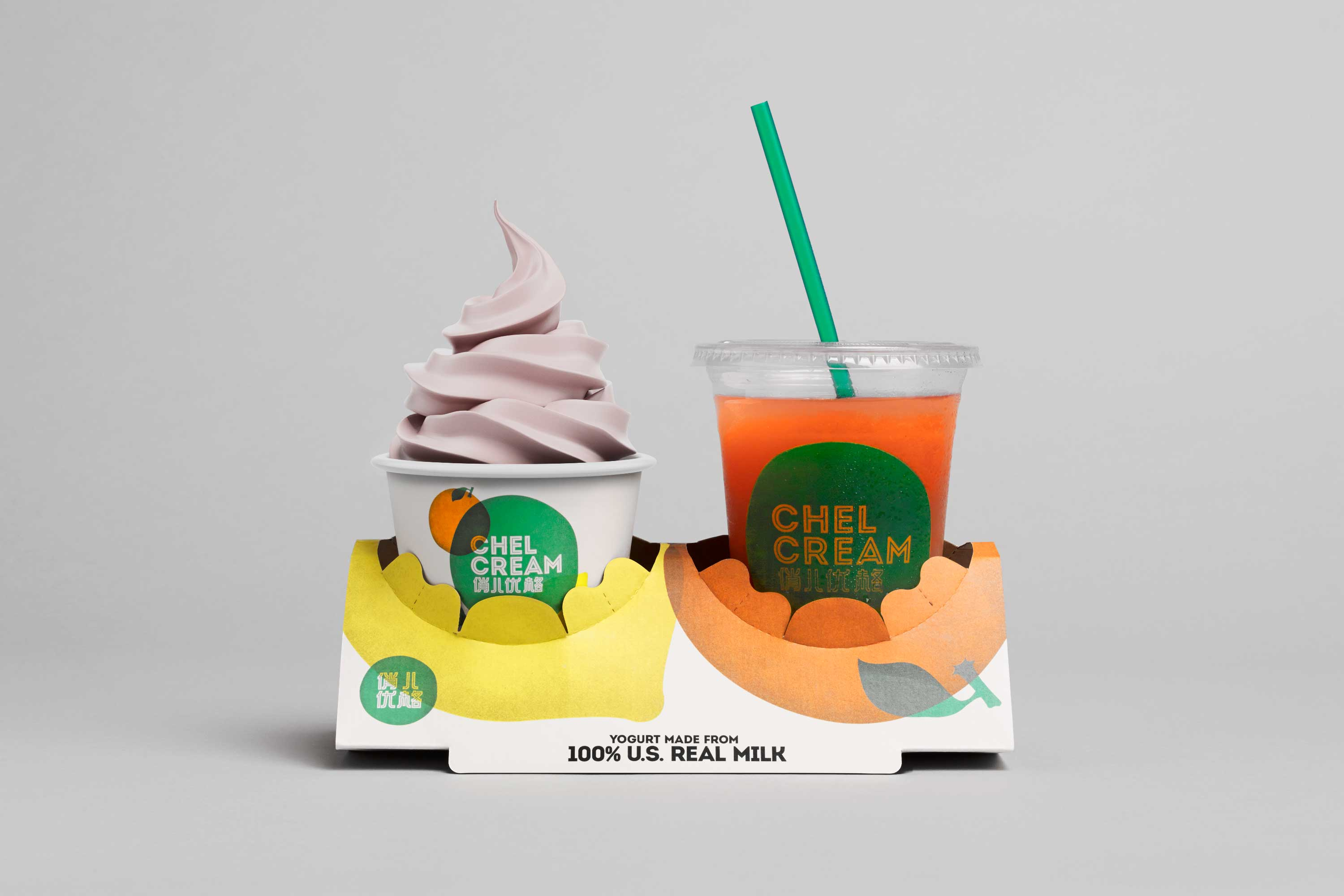 Chel Cream – Identity, customised take-out tray for a froyo chain in Suzhou